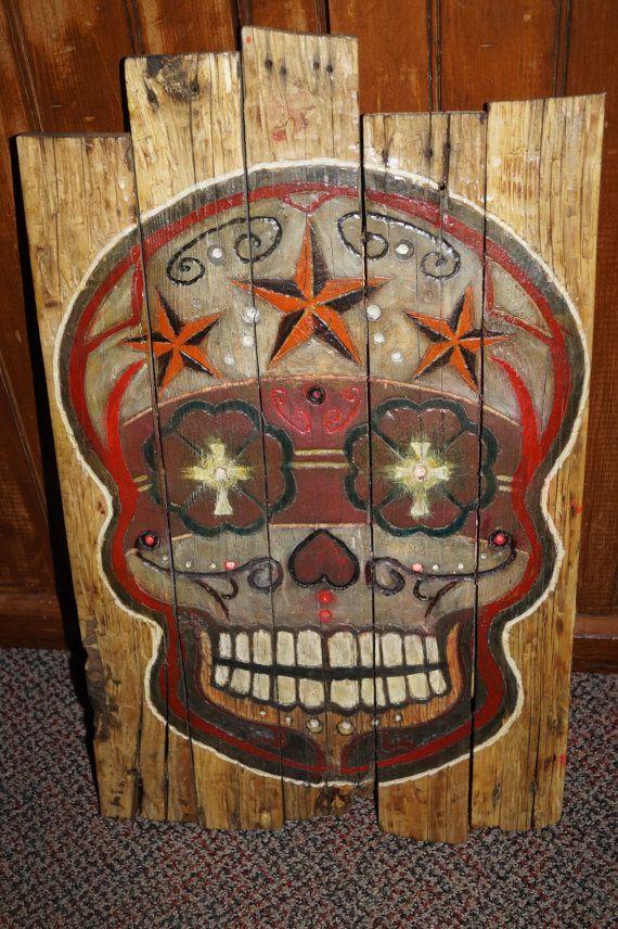 Sugar Skull Pallet Sign by MallettsPalletts on Etsy