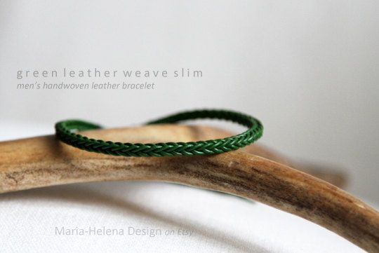 Men's green handwoven leather bracelet by Maria-Helena Design.