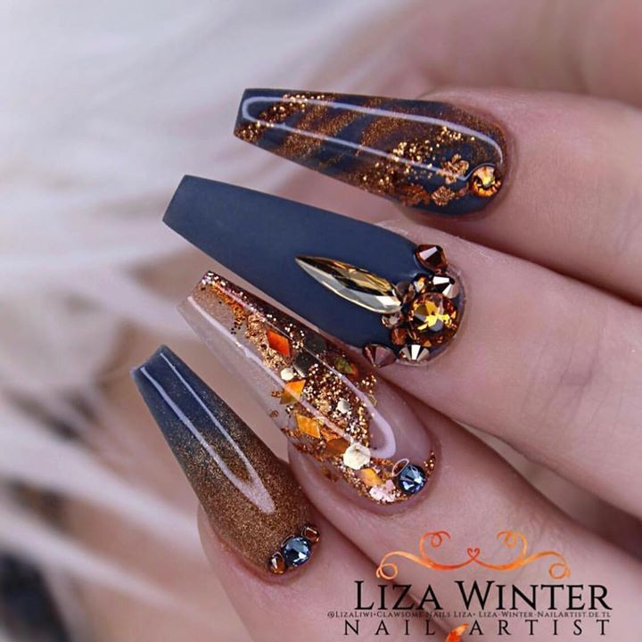 Copper And Navy By Lizaliwi Nailpro Copper Nails Designs Cute Acrylic Nail Designs Nail Art Printer