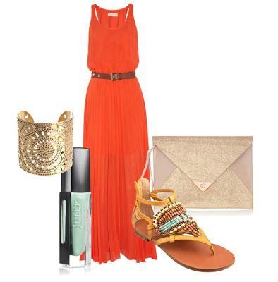 Fashionable Cool - Summer 2014  Stylish Orange Maxi Dress