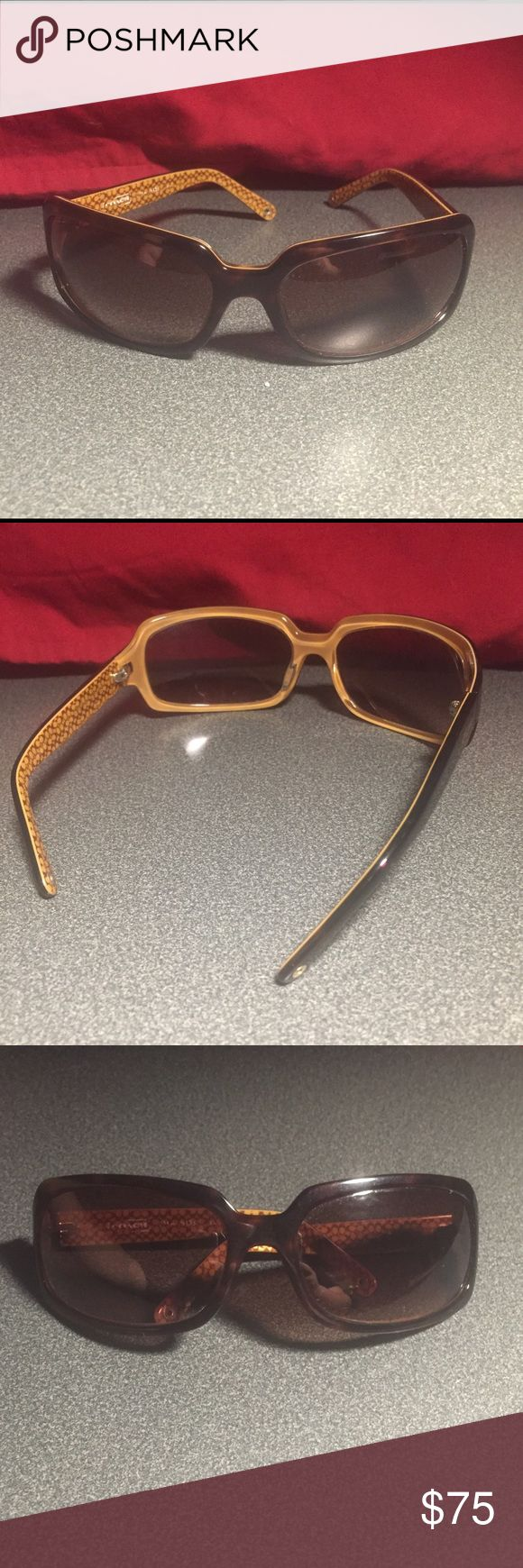 Coach sunglasses Purchases from coach outlet store about 5 years ago. Still in great condition. One side of the hinge/arm is loose but can easily be repaired. Dark brown color with light interior. Serial number has worn off. Width- 6inches, height of lenses and frame- 1 & 2/3 inches. Arm length from hinges to end- 4inches. Coach Accessories Sunglasses