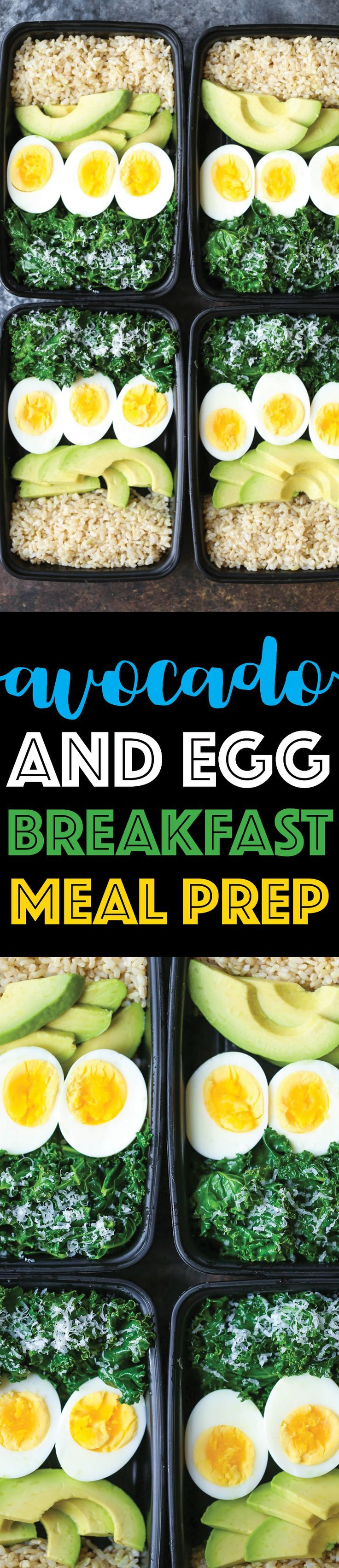 Avocado and Egg Breakfast Meal Prep - Jump start your mornings with the healthiest, filling breakfast ever! Loaded with brown rice, avocado, eggs and kale.