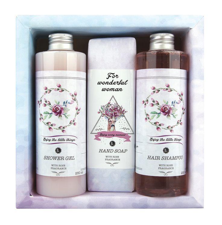 Dárkové balení kosmetiky Boho Style - sprchový gel, toaletní mýdlo a vlasový šampon. Originální dárek pro ženy.