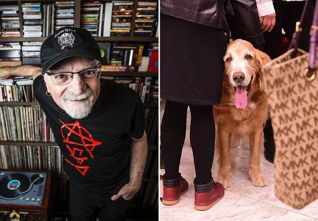 Uma das figuras mais queridas da música brasileira, o cantor e comunicador Kid Vinil faleceu na última sexta-feira. As manifestações de lamento e saudades por sua morte foram diversas entre artistas, amigos e colegas de trabalho, mas o símbolo do afeto que todos nutriam por Kid acabou sendo as imagens de seu cachorro, Cosmo, que também foi se despedir de seu amigo em seu velório. Acima, Kid Vinil entre seus discos; Cosmo no velório Kid foi uma das figuras importantes na afirmação do rock…
