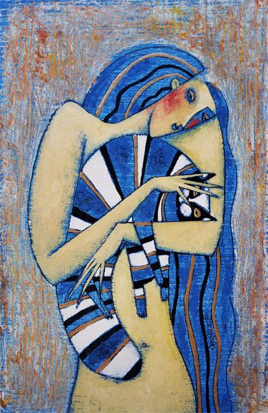 """Blue Cat with Stripes"" - Andrei Protsouk (Rainbow Cat Collection)"