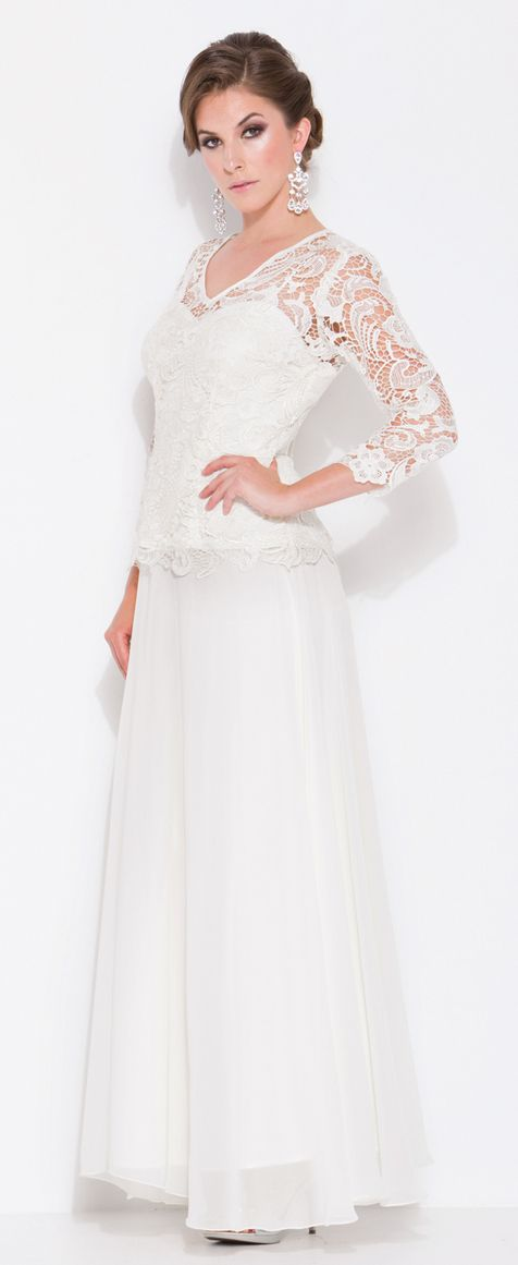 Classy Long Mother of Bride dress in color Ivory, Fuchsia/Pink, Black & more - V Neckline style in material: Lace - Plus Size available. - $119 - Dress URL: http://www.jessicasfashion.com/long-quarter-sleeve-lace-mother-of-bride-gown-LXO5040.html