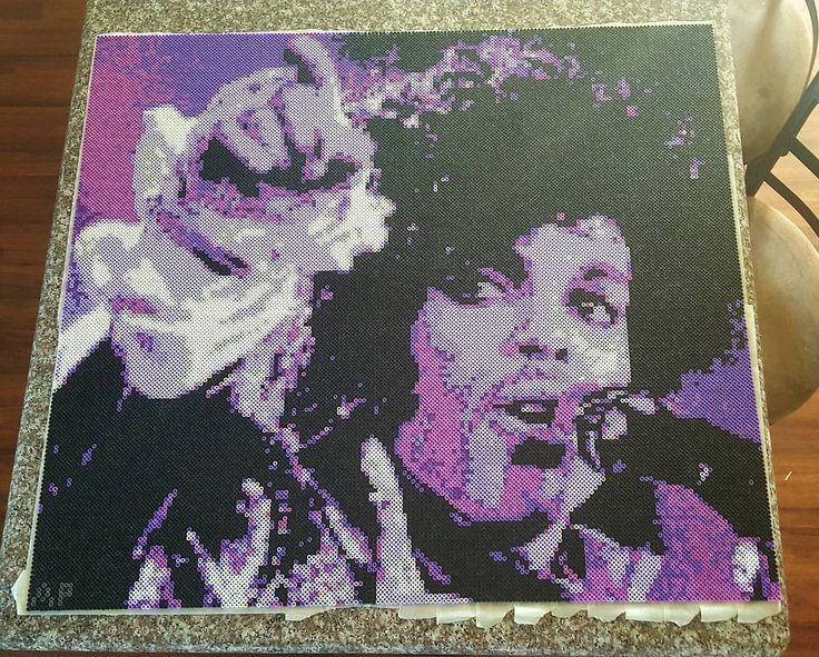 Prince (1958-2016) perler bead art by the_nerdy_girl_crafter (30.5 inches tall - 33.5 inches wide)