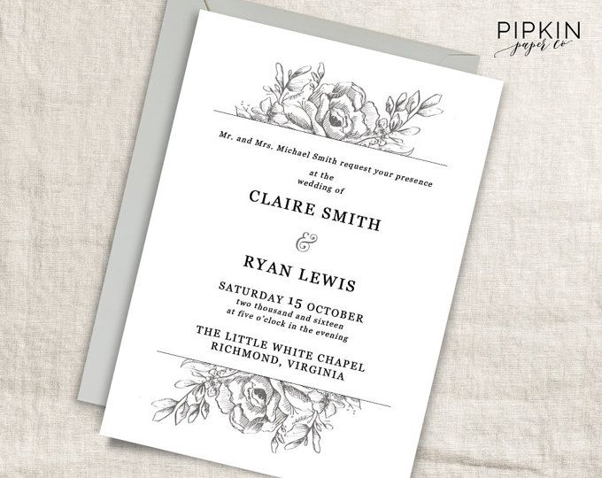 95 best Printable Wedding Stationery images on Pinterest Wedding - bridal shower invitation templates for word