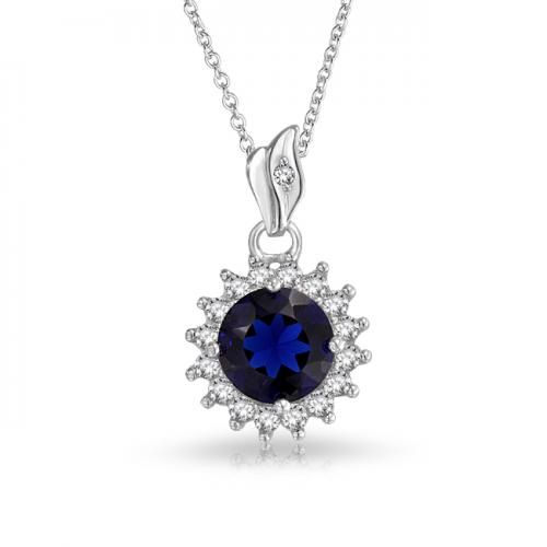 Bling Jewelry 925 Silver Blue Sapphire Color CZ Circle Pendant Necklace 16in