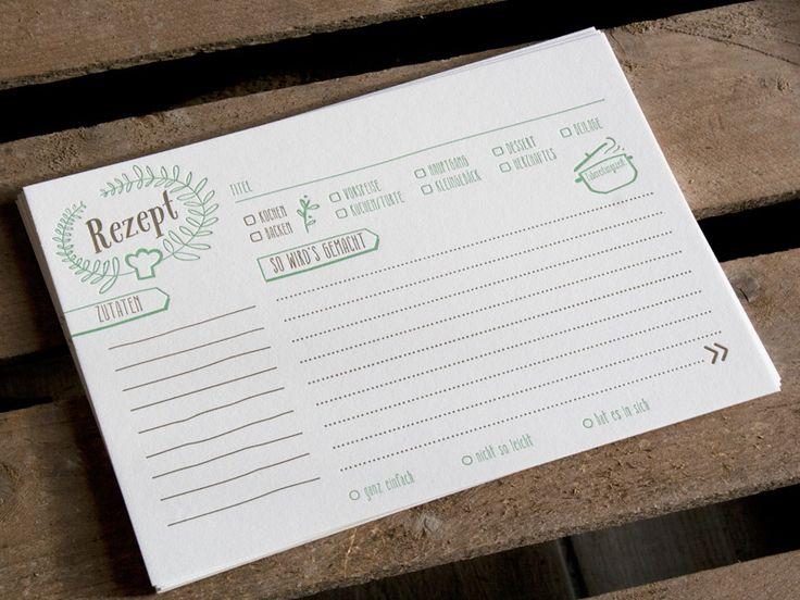 Rezeptkarten 10er Set Letterpress handgedruckt von Druckspatz - Design & Letterpress auf DaWanda.com