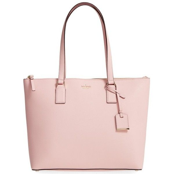 Women's Kate Spade New York 'Cameron Street - Lucie' Tote ($298) ❤ liked on Polyvore featuring bags, handbags, tote bags, pink sunset, leather purses, leather tote purse, pink purse, pink tote bags and leather handbags