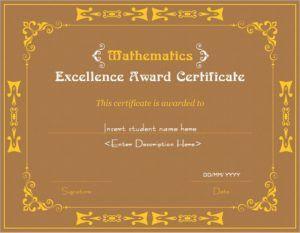 Mathematics Excellence Award Certificate Template for MS Word DOWNLOAD at http://certificatesinn.com/mathematics-excellence-award-certificates/