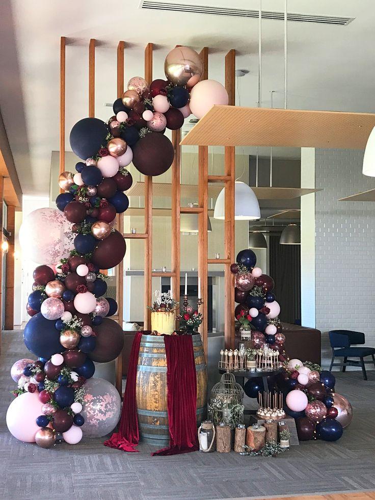 Burgundy Navy And Rose Gold Wedding Balloon Garland