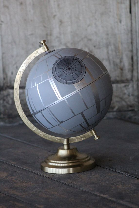 This listing is for a medium (8 in diameter) globe of the Star Wars Death Star. Moms of boys that have a wish list for tacky bedroom decor... this