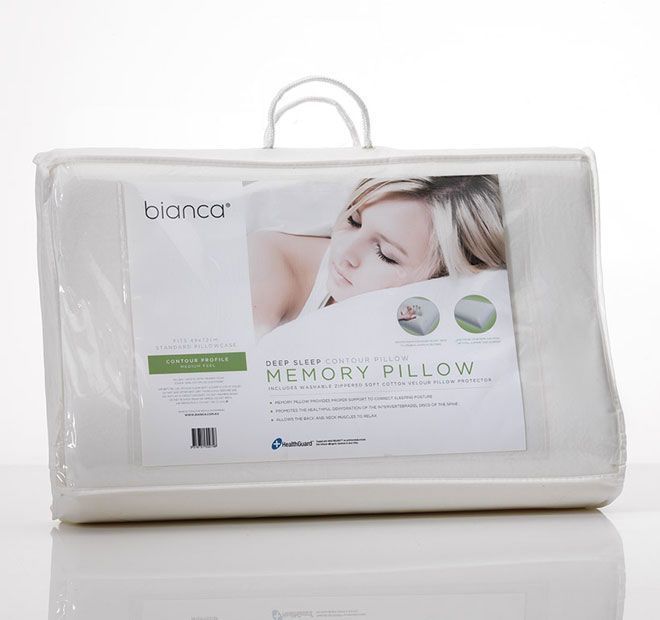 Memory Foam Contour BIANCA  Premium memory foam therapeutic pillow for maximum neck and back support. Memory foam moulds to your individual shape and promotes correct spinal alignment. To suite side and back sleepers.  Features: Memory foam Medium feel Contour Removable soft cotton velour zippered pillow protector Fits a standard pillowcase Warm machine wash cover only Sponge clean without detergent if required Air frequently, not in direct sunlight  5 year warranty against faulty materials…