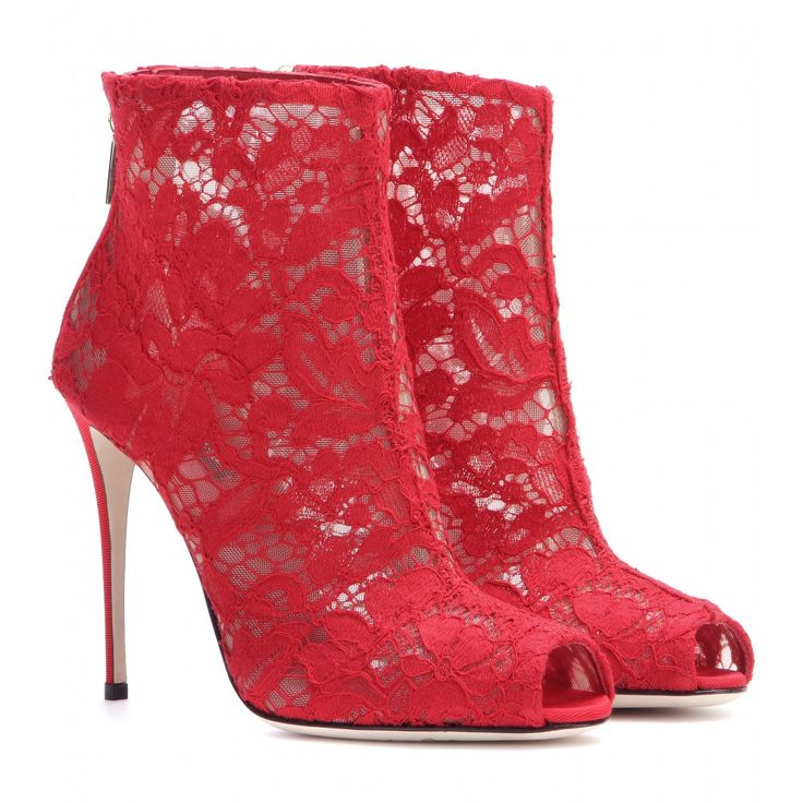 mytheresa.com - Peep-Toe-Booties aus Spitze - Hoher Absatz - Stiefeletten - Schuhe - Dolce & Gabbana - Luxury Fashion for Women / Designer clothing, shoes, bags