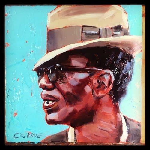Lightnin Hopkins 6x6inch oil on board #lightninhopkins #Lightnin #Bluesart #blues #oilpaint #oilart #oils #darrenlove #dlove