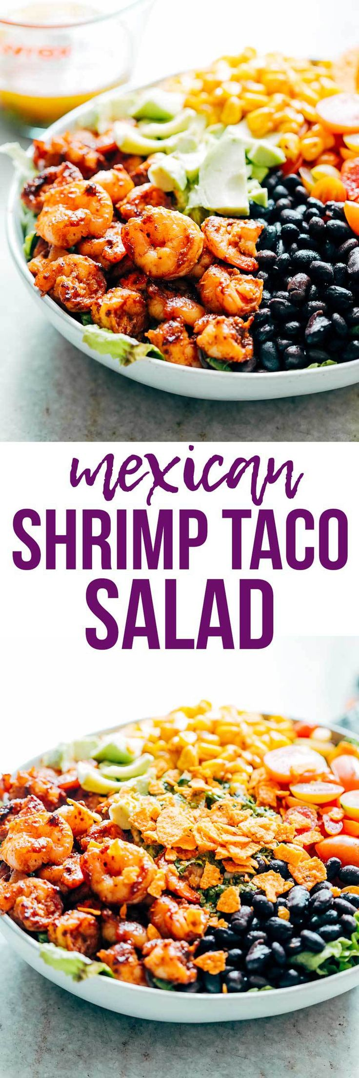 Mexican Prawn Avocado Taco Salad is a delicious, hearty salad that has all the flavors of your favorite Mexican taco, but healthier. Loaded with lettuce, black beans, avocado, cherry tomatoes, corn and a delicious cilantro lime dressing, it's perfect when you want salad for dinner. My Food Story | Salad | Mexican Food | Lunch | Dinner | Shrimp | Salad Recipe | Dressing Recipe