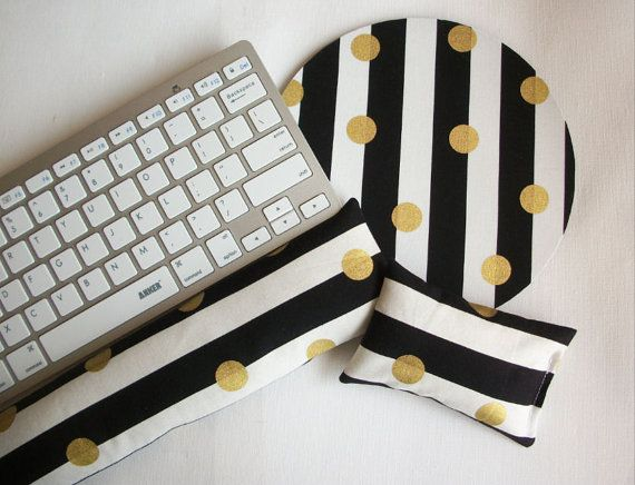 gold Mouse pad set  mouse wrist rest  keyboard rest by Laa766  chic / cute / preppy / computer, desk accessories / cubical, office, home decor / co-worker, student gift / patterned design / match with coasters, wrist rests / computers and peripherals