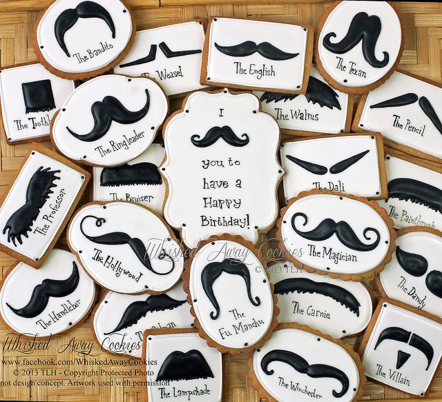 Mustache Birthday Cookies by Whisked Away Cookies, via Flickr