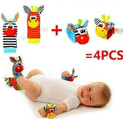 VALUE MAKERS 4 Pcs bébé hochet chaussettes Animal mignon…