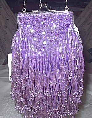 Lavender Crystal Beaded Evening Bag with Deep Fringe .... …