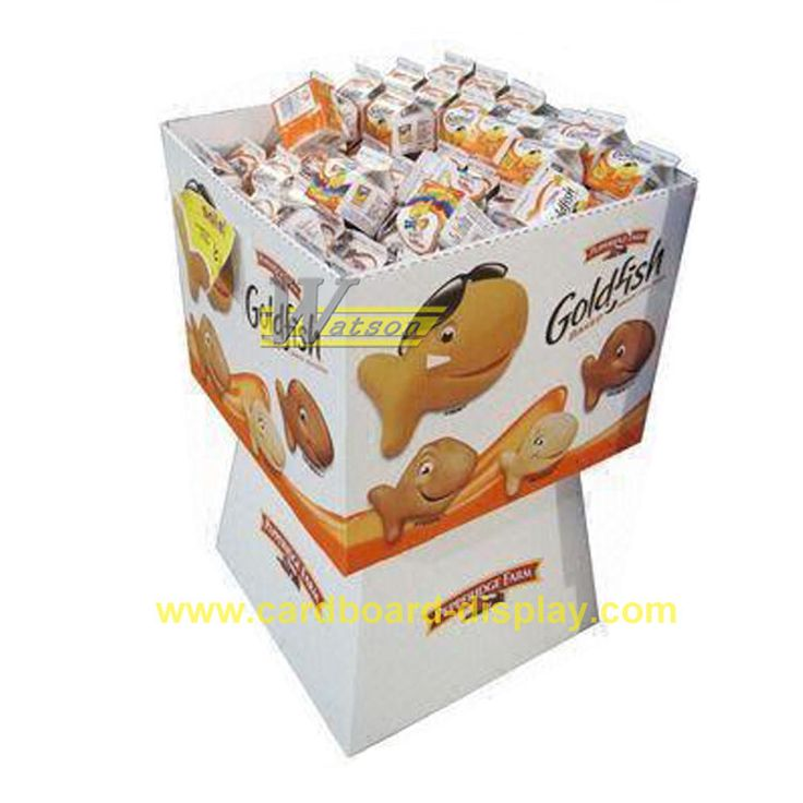 lovely fishes dump bin display for retail store, supermarket. custom made cardboard floor display, pallet display for snacks, fion@safepacking.hk