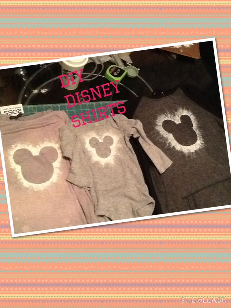 Our diy family disney shirts ! The shirt on the far left has bleach avid paint fade - the picture does it no justice .... It came out beautifully . The middle and far right are just soft paint over a homemade stencil made of tape