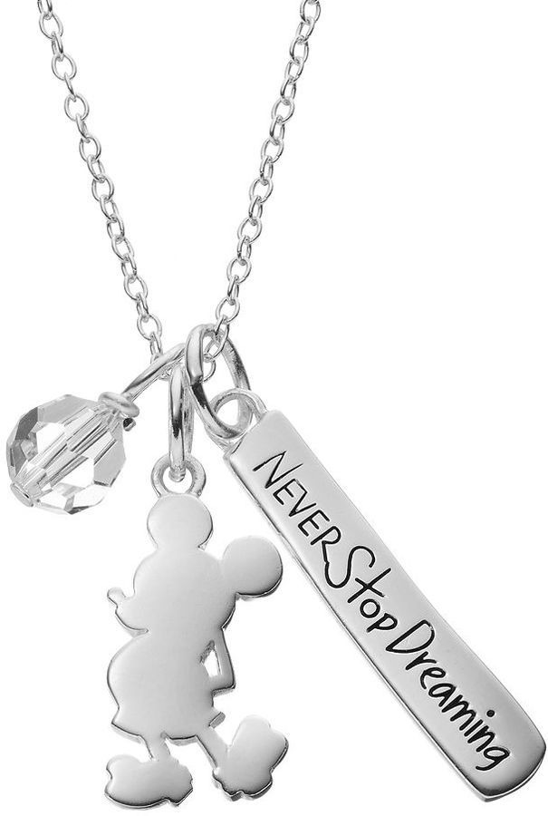 Disney's Mickey Mouse Sterling Silver Charm Pendant Necklace - Made with Swarovski Elements