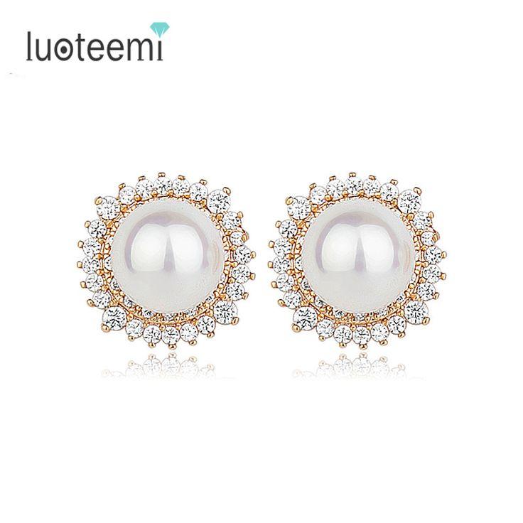 LUOTEEMI Brand New Wholesale  Charm Vintage Design Style Round AAA Imitation Pearl Earrings Stud For Women Elegant Bridal
