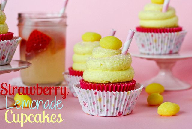 Strawberry Lemonade Cupcakes--Adapted from Paula Deen's recipe and frosted with buttercream frosting flavored with sweetened lemonade mix.