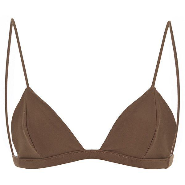 JADE SWIM Perfect Match Triangle Bikini Top ($90) ❤ liked on Polyvore featuring swimwear, bikinis, bikini tops, tan, swim tops, triangle swim wear, swimsuit tops, swim suit tops and triangle swimwear