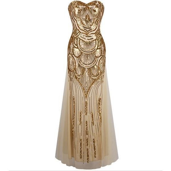 Champagne Gold Gatsby Inspired Art Deco Sequin 1920s Fashion Formal... ❤ liked on Polyvore featuring dresses, gowns, formal evening dresses, gold formal dresses, sequin dresses, bridesmaid dresses and gold evening gowns