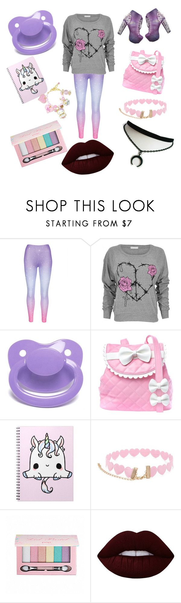 """Pastel goth baby"" by little-liv on Polyvore featuring Barbed, Sugarbaby, Forever 21, Pop Beauty and Lime Crime"