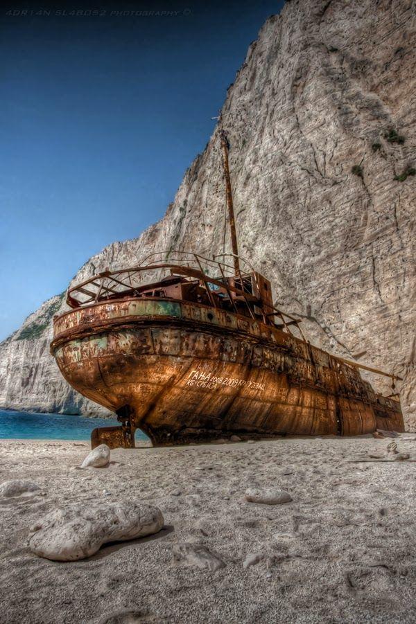 The Ship of Shipwreck Beach, Ionian Islands Greece