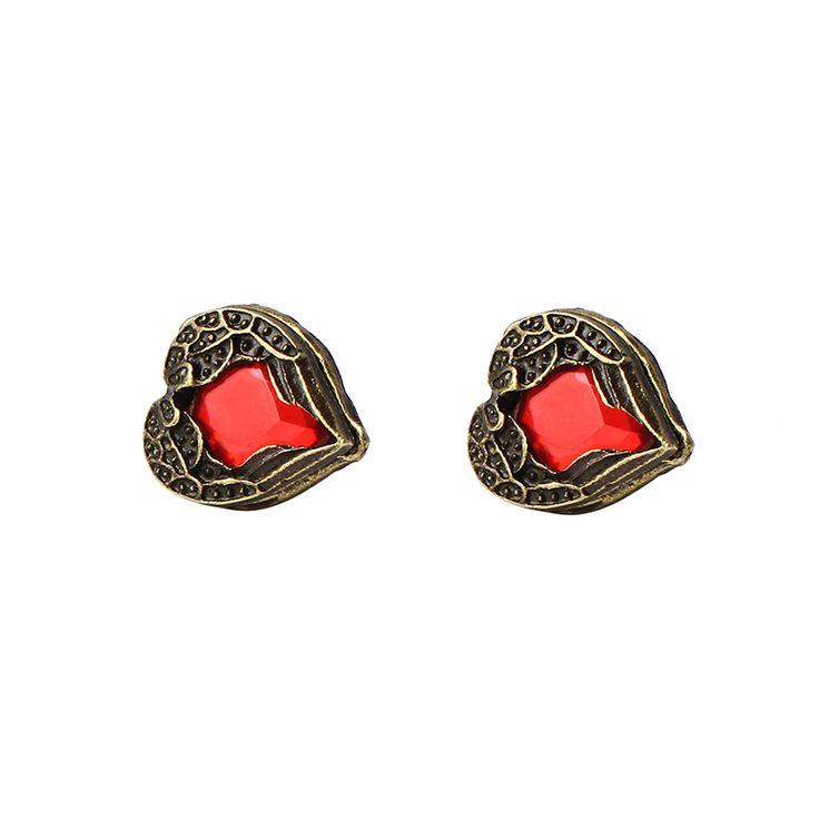 Nueva Llegada de La Manera Rojo Alas Del Ángel de la Gema del Corazón del Melocotón Pendientes (Rojo) E122