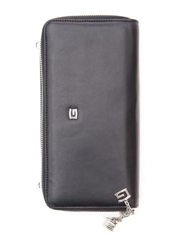 Women's black leather clutch wallet. 100% Made in Italy from vegetable dyed leather.