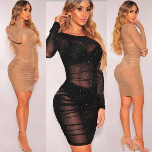 Women Sequins Mesh Bandage Bodycon Dress Party Cocktail Dress Club Mini Dress in Clothing, Shoes & Accessories, Women's Clothing, Dresses   eBay