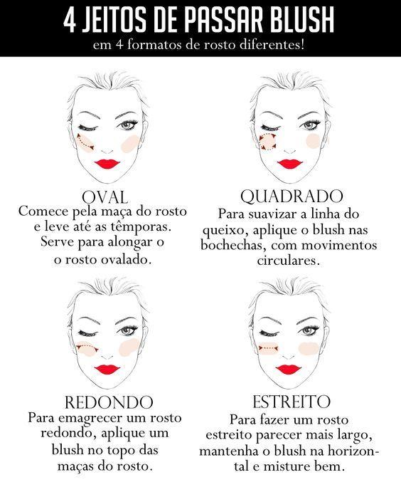Sabia que existe um jeito de passar blush para cada formato de rosto?  #blush #maquiagem #formatoderosto: