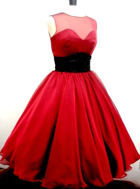 A 50s inspired ruby red chiffon rock ability by elegance50s, $275.00