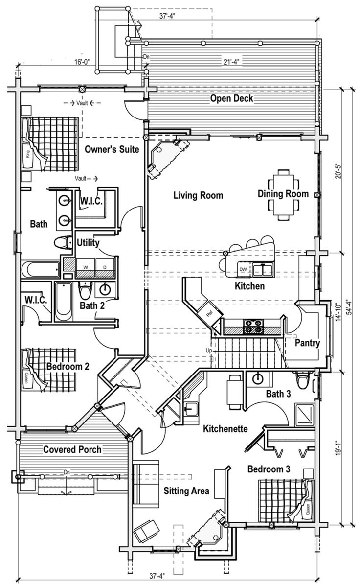 Floor plan 1 of the Ashley model from the Classic Series by Log Home Outfitters