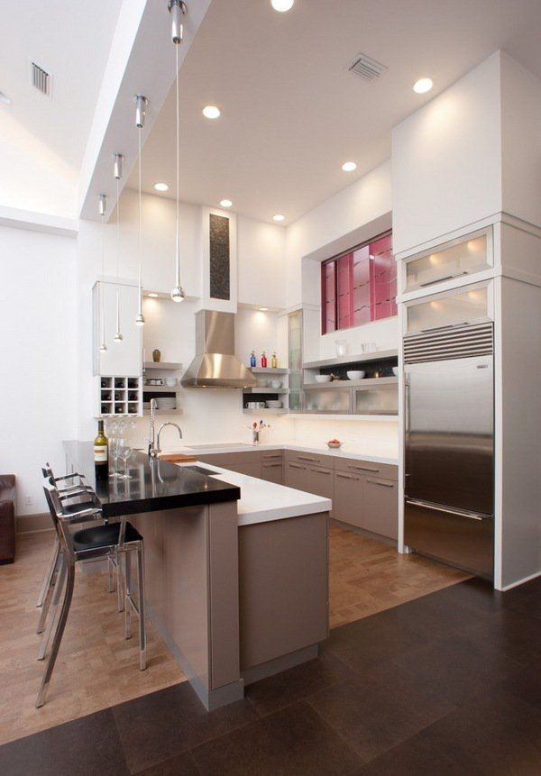 contemporary kitchen ideas U shaped kitchen design breakfast bar modern lighting mini pendant lights