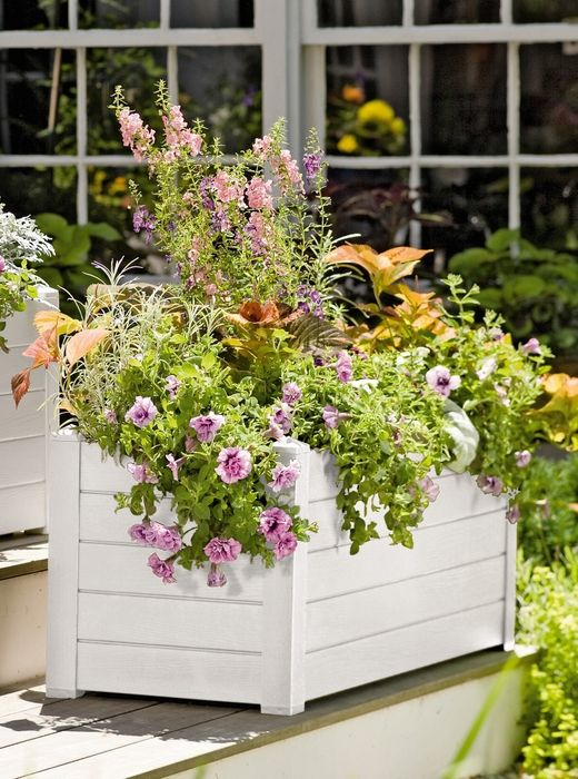 Self Watering Terrazza Trough Planter, White