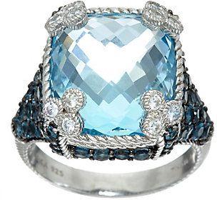 Judith Ripka Sterling Silver 16.50 cttw Blue Topaz Monaco Ring