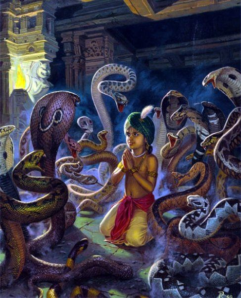 Devotee Prahlad in the snake pit. (Srimad bhagavatam 7th Canto)