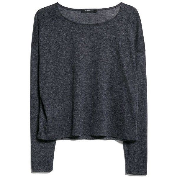 Mango Long sleeve tshirt ($14) ❤ liked on Polyvore featuring tops, shirts, sweaters, long sleeves, clearance, navy, navy blue long sleeve top, shirts & tops, extra long sleeve shirts and polyester shirt