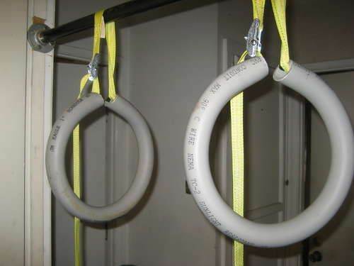 Fitness rings for pole vaulters or gymnasts. I've made these and they work perfectly!!