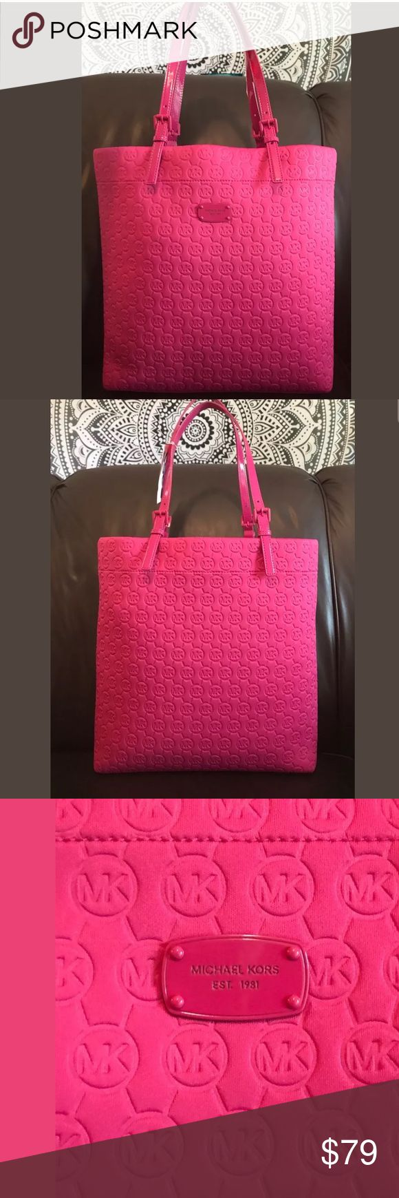 "Extra large Michael Kors Flamingo Jet Set Tote NWT I'm offering an awesome Michael Kors Extra Large Monogram Jet Set Tote, Travel, Shoulder Bag New with tags, retail cost 158.00.  It's in a beautiful vibrant summer Flamingo pink, Absolutely amazing.   It measures a generous 14.5"" x 14"" x 4"" with 10"" drop on adjustable patent leather handles.  The interior is lined in cream with compartments to stay organized. This Tote is very roomy, great for travel or shopping, an awesome quality Bag…"