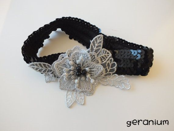 gothic black sequined garter, lace garter flexible floral, wedding, party, suspenders,halloween hair band.FREE SHIP