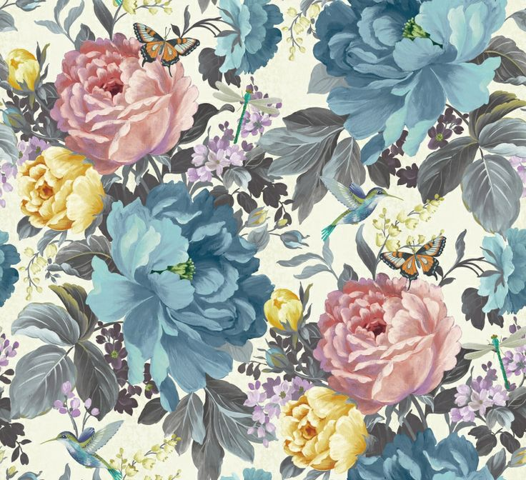 Dianthus wallpaper in Forget Me Not from the 'Shade Wilder' collection by Arthouse. Available exclusively in New Zealand through Guthrie Bowron.